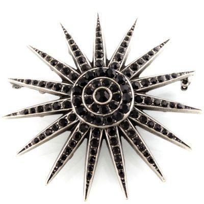 Брошь Artmetal Paris Звезда императрицы с черными кристаллами Swarovski