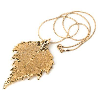 Колье Ester Bijoux Лист березы в золоте