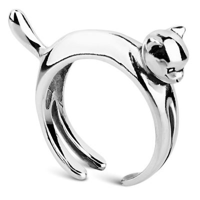 Кольцо «Кошка» из серебра