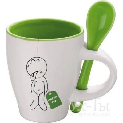 Чашка с ложкой «Мистер Пи любит зеленый чай»