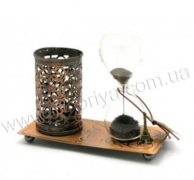 Настольный набор: песочные часы с подставкой для ручек