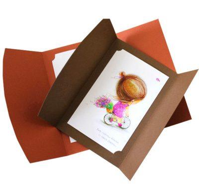 Открытка-конверт Дякую тобі «Хочу бути там, де є ти» коричневий