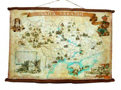 Карта Украины А2 на художественном холсте