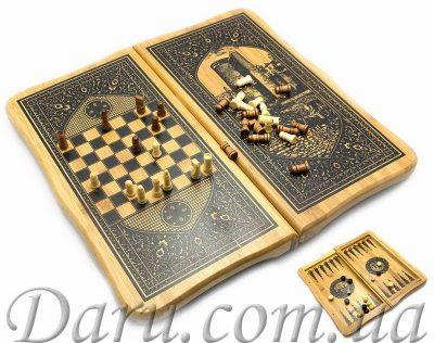 Нарды с шахматами бамбуковые «Баку» (большие)