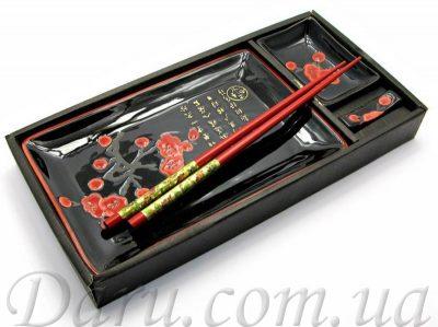 Сервиз для суши «Красная сакура» 6 предметов