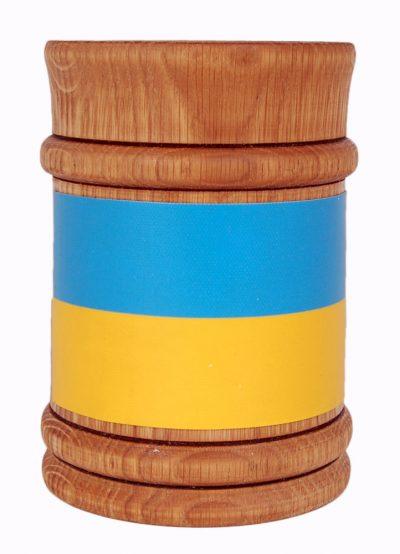 Деревянная пивная кружка с символикой Украины