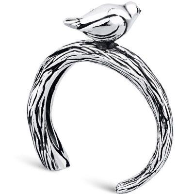Кольцо «Птичка на дереве» из серебра