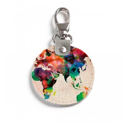 Круглый брелок с карабином World map