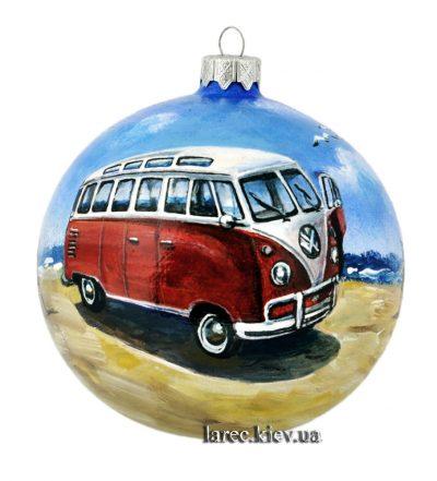 Расписной шар на елку Volkswagen T1 Samba Bus