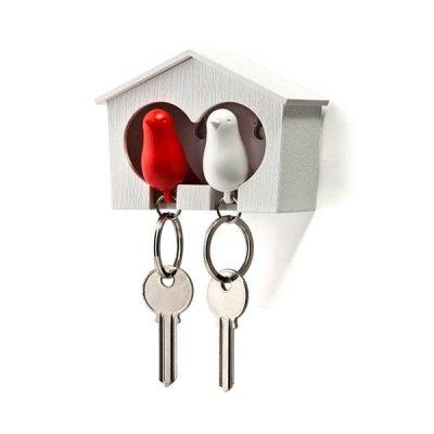 Держатель ключей двойной + брелоки Qualy Duo Sparrow красный