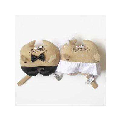 Дизайнерская игрушка-подушка «Свадебные коты»