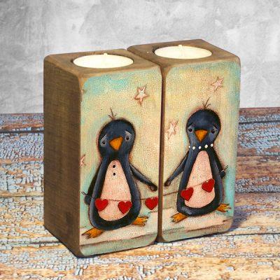 Подсвечник «Влюбленные пингвины»