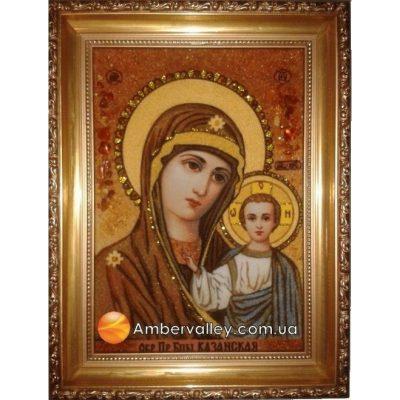 Икона из янтаря «Казанская Богородица»(венчальная)