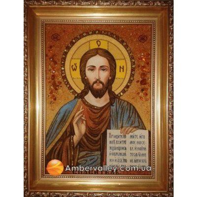 Икона из янтаря «Спаситель» (венчальная)