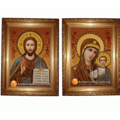 Казанская венчальная пара: Спаситель и Богородица из янтаря