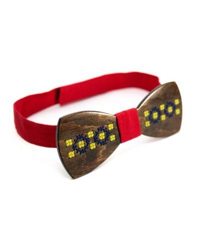 Деревянный галстук-бабочка с украинской вышивкой Bow tie decor