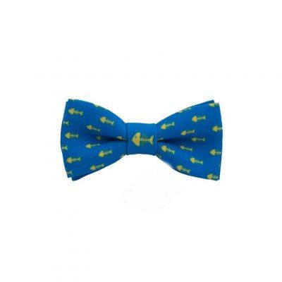 Детская галстук-бабочка (синяя с желтыми рыбками)