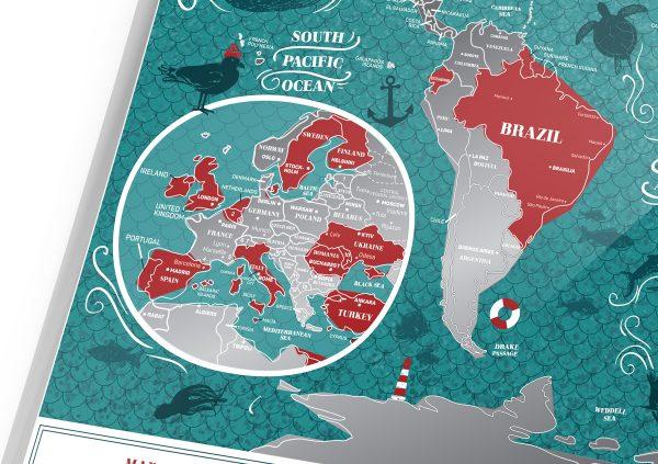 Скретч-карта мира Travel Map «Marine World»