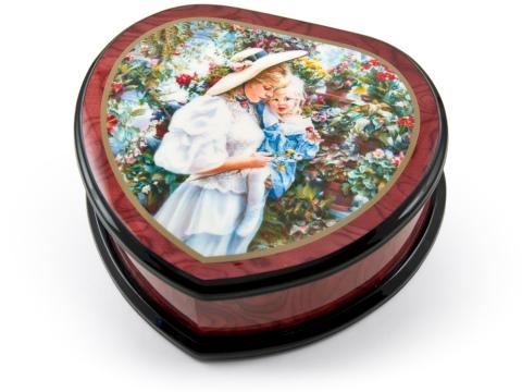 Музыкальная шкатулка в виде сердца «Мама с ребенком в саду» Ercolano