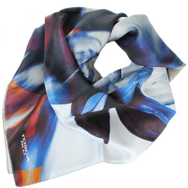 Платок из шелка Tosca Blu «Forest tea» с цветочным принтом