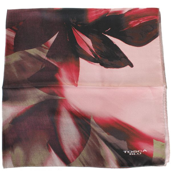 Платок Tosca Blu «Forest tea» с бордовым цветочным принтом