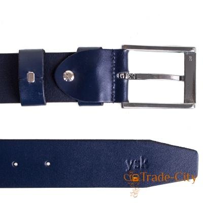 Ремень мужской кожаный Y.S.K. (синий)
