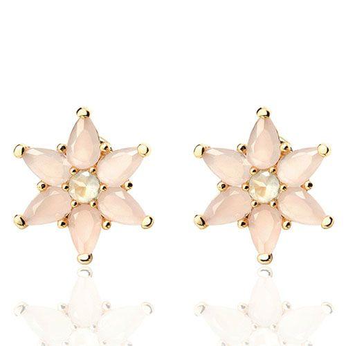 Серьги-пуссеты Aran Jewels позолоченные в форме цветка
