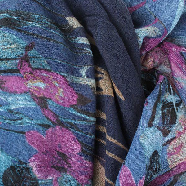 Шарф Tosca Blu «Bonet» с бирюзово-сиреневым рисунком