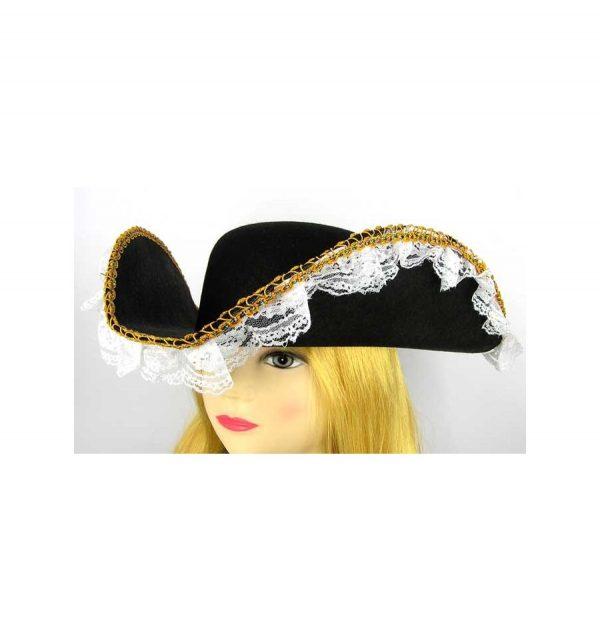 Шляпа «Треуголка пиратки» с кружевом
