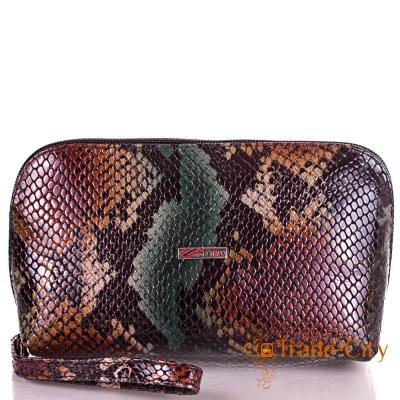 Женская кожаная косметичка DESISAN из натуральной кожи «под змею»