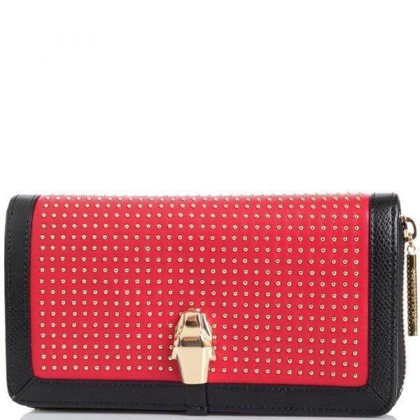 Женское портмоне красного цвета Cavalli Class с декором из мелких заклепок