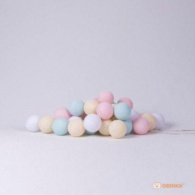 Хлопковая гирлянда Cotton Ball Lights Pastel (20 шариков)