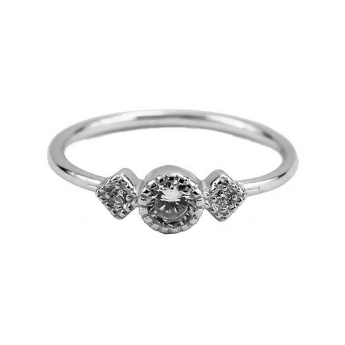 Кольцо Aran Jewels серебряное с круглым цирконом и вставками в виде ромбов