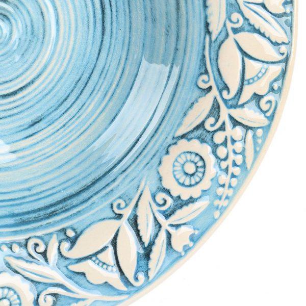Набор из двух суповых тарелок Manna Ceramics голубого цвета с ручной росписью