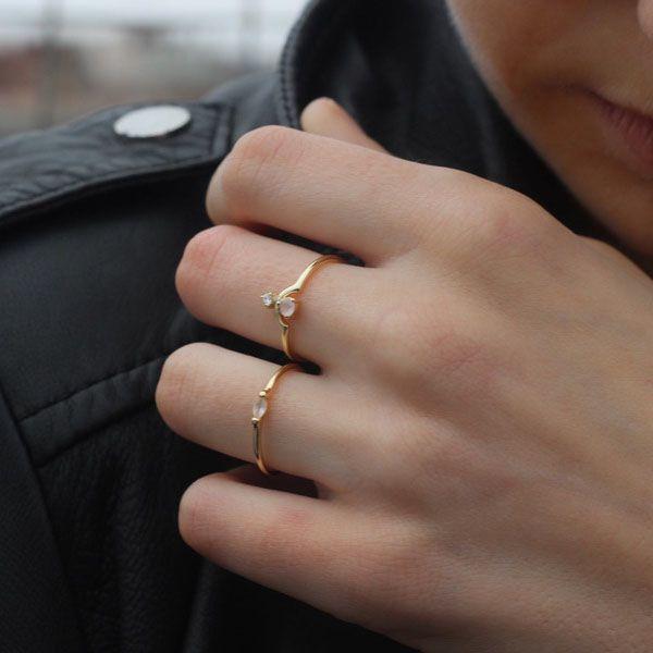 Позолоченное кольцо Aran Jewels с цирконом и розовым камнем