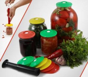 Практичный набор для вакуумного хранения продуктов (9 крышек+насос)