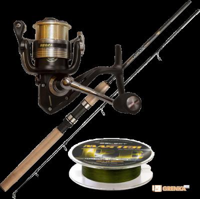 Супер-комплект «Набор спиннингиста»: спиннинг Golden Catch, катушка Favorite Regza и шнур Select