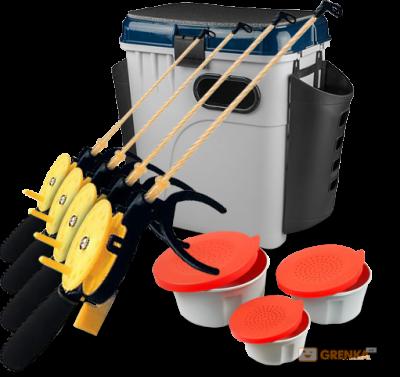Супер-комплект «Зимняя рыбалка»: ящик, мотыльницы, 4 удочки