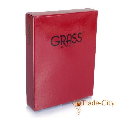 Мужская кожаная кредитница с отделениями для документов GRASS (коричневый цвет)