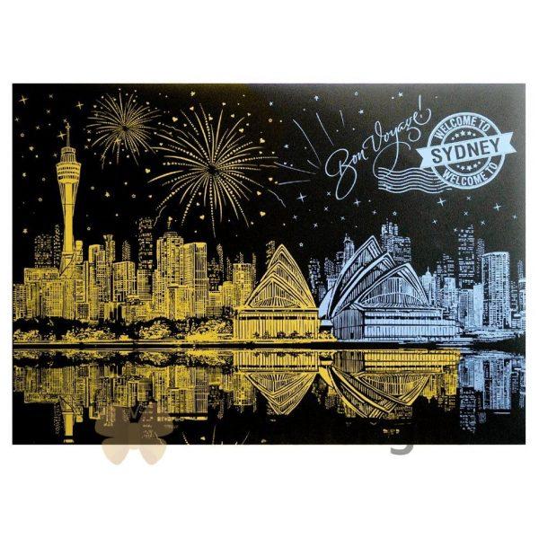 Скретч-плакат ночного города ArtJoy Scratch «Night View Australia Sydney»