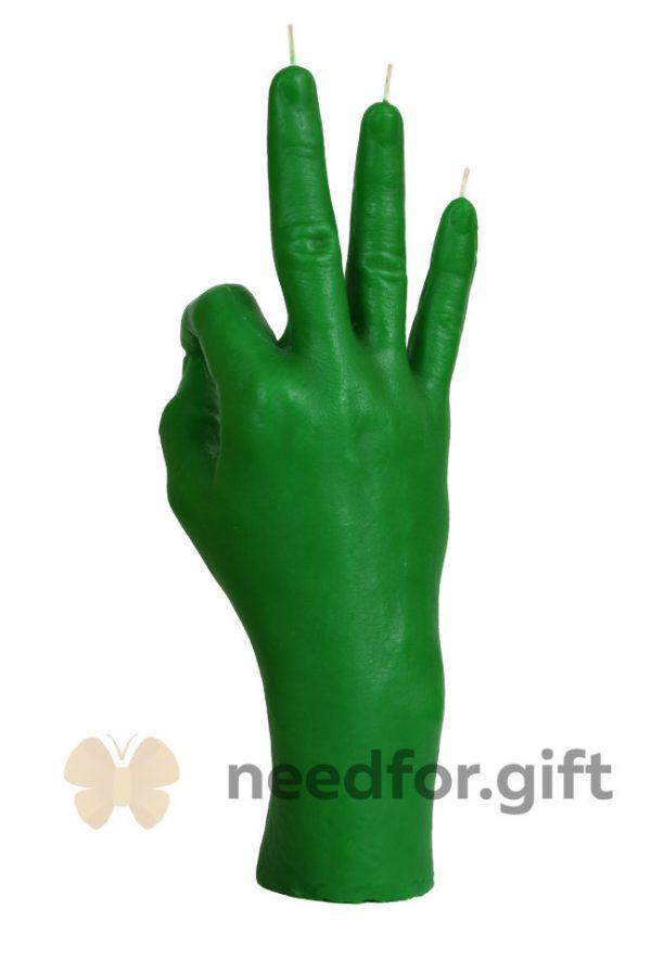 Свеча «OK» зеленая