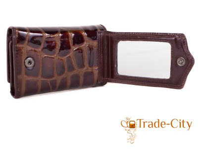 Женская кожаная ключница-кошелек с зеркалом WANLIMA coffee