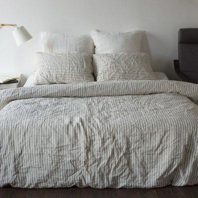 Двуспальный комплект постельного белья Etnodim из льна белого цвета в серую полоску