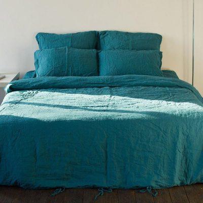 Двуспальный комплект постельного белья Etnodim из льна голубого цвета