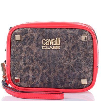 Косметичка Cavalli Class Tilda кожаная ярко-красная с леопардовым принтом