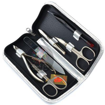 Маникюрный набор 6320 SI Kellermann из 6 инструментов в серебристом футляре на молнии