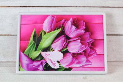 Поднос на подушке «Тюльпаны»