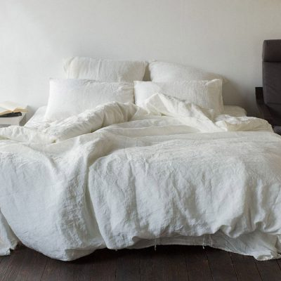 Полуторный комплект постельного белья Etnodim из льна белого цвета