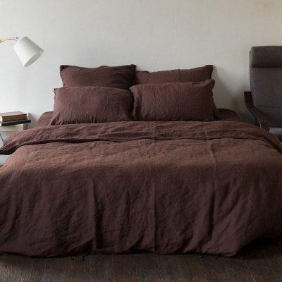 Полуторный комплект постельного белья Etnodim из льна коричневого цвета