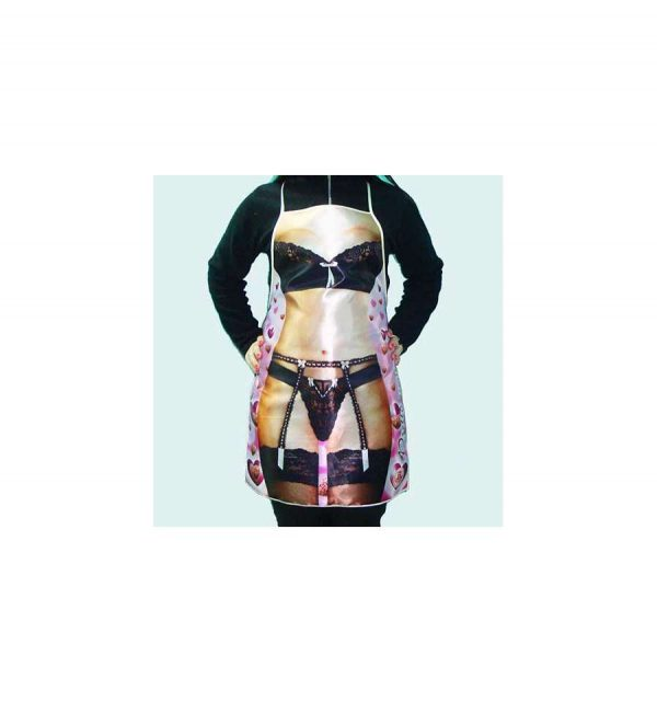 Прикольный фартук «Девушка в черном белье»